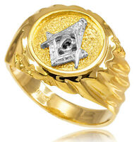 14k Solid Yellow Gold Masonic Men's Ring