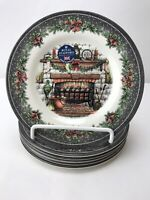 "Royal Stafford Christmas Eve 8"" Salad Plates Set of 6 Fireplace Hearth 1791 New"