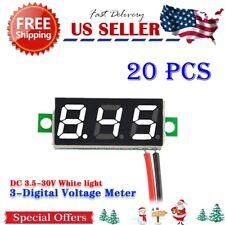 20x white Mini DC 3.5-30V 3-Digital Display For  Panel Voltmeter Battery voltage