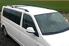 VW T5 T6 LWB 2003+TRANSPORTER LOCKABLE ROOF RAIL BARS RACK + CROSS BARS BLACK