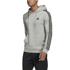 Adidas Felpa da Uomo con Cappuccio Essentials 3-Stripes Grigia Codice GK9080 ...