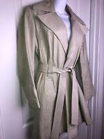 Vtg 70's Ivory Leather Jacket  Fit & Flare Trench Coat Sz S/M Suburban Heritage