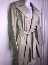 Vtg 70's SUBURBAN HERITAGE Sz S/M Ivory Leather Jacket  Fit & Flare Trench Coat