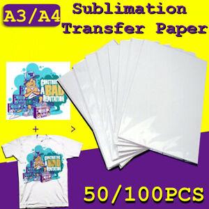 AU 50/100 sheets A3/A4 Heat Sublimation Transfer Paper For Mug Plate