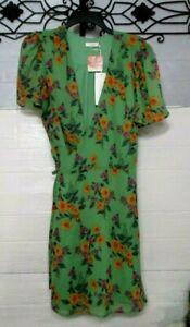 NWT Lush Dress Size L Multicolored Floral Wrap Dress Short Sleeve V Neck