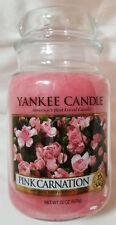 Yankee Candle PINK CARNATION Large Jar 22 Oz Pink Housewarmer New Wax Floral