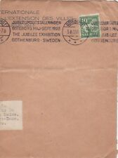 J110 partie d'enveloppe flamme JUBILEE EXHIBITION GOTHENBURG SWEDEN 5/6/1923