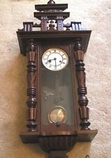 Antique Victorian Vienna Regulator Walnut Wall Clock & Chimes Runs Perfect Guar.