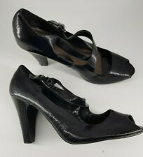 New Look size 7 black faux patent leather buckle strap block heel court shoes