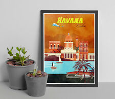 Vintage Havana Poster Cuba Travel Print Vintage Wall Art Retro PosterTravel Post