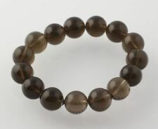 "NEW Beaded Smoky Quartz Bracelet 6""- Stretch Band Chunky Brown Stone Statement"