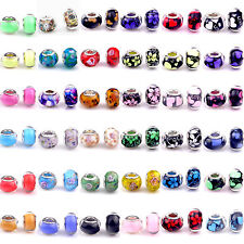 UP 5pcs Colorful Glass Bead Lampwork Fit European Charm Bracelet Women Gift