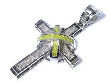 & White Diamond Cross Pendant 6.00ct Mens 14k White Gold Princess Cut Yellow
