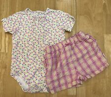 Toddler Baby Girl 18 Mo Sonoma Yellow Pink Plaid Floral Shorts Summer Outfit Set