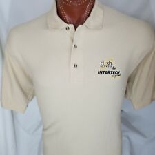 Intertech Digital Dish Network Beige Embroidered Polo Shirt 100% Cotton L Large