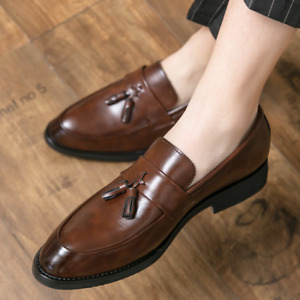 Men's Dress Formal Business Tassel Shoes Faux Leather Slip on Pointy Toe Oxfords