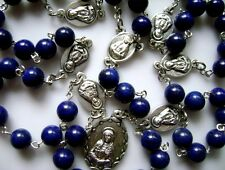 Valuable Natural Real 8mm Lapis lazuli beads 7 Seven Sorrows Rosary NECKLACE