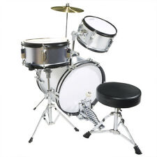 "Mendini 16"" Junior Kids Child Jr. Drum Set Kit ~Silver"