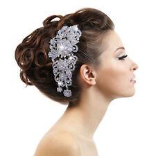 "5.9"" Wedding Rose Flower Hair Comb Tiara Clear AB Rhinestone Crystal Bridesmaid"