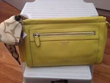 NWT COACH LEGACY LARGE CLUTCH IN LEATHER BRIGHT YELLOW F48021 WITH COACH SCARF