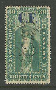 "Ontario #OL4, 1864 30c ""C.F."" (Consolidated Fund) Overprint Law Revenue, Used"