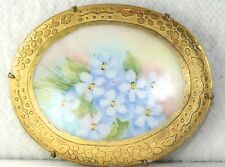 Forget Me Not Flower Pin Brooch Very Large Victorian Antique Gilt Porcelain Blue
