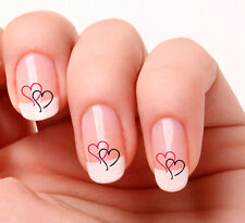 20 Nail Art Decals Transfers Stickers #704 - Hearts Pink & Black valentines day