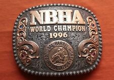 Vtg Gist Sterling Silver World CHAMPION NBHA Western Trophy Belt Buckle