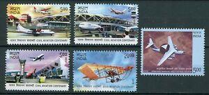 India Scott 2569-2572, 2592 Civil Aviation Centenary + AWACA plane MNH 2012