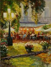 Paris Sidewalk Cafe City Summer EVENING LIGHT ORIGINAL OIL PAINTING Yary Dluhos