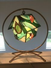 """18""""  Stained Glass Handcrafted Bird House Night Light Table Desk Lamp Beautiful"""