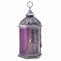 Purple Glass Pewter-finish Metal Candle Lantern