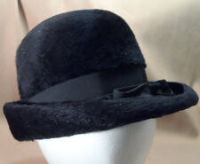 fc6e745a Vintage Black Faux Fur Ladies Hat w/ Ribbon Band & Bow -- 22