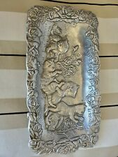 "Rare Arthur Court 1992 Aluminum Playful Kitty Cat Roses Tray 6 x 11"""