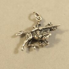 .925 Sterling Silver 3-D KNIGHT ON HORSEBACK CHARM NEW Armor Medieval 925 MY38