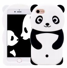 For iPhone 7 (4.7 inch) - SOFT SILICONE RUBBER SKIN CASE COVER BLACK PANDA BEAR