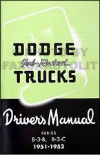 Buy 1952 year car owner operator manuals ebay 1951 1952 dodge b 3 pickup and panel truck owner manual drivers manual job rated publicscrutiny Choice Image