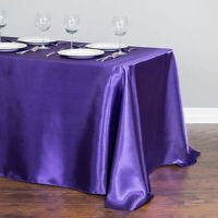 145x304cm Satin Tablecloth Rectangle Table Cover Cloth Wedding Party Banquet Dec