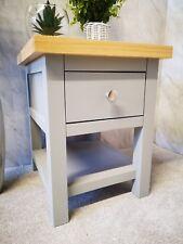 Partridge Grey & Oak Small Side Table / Bedside Lamp Unit / 1 Drawer Nightstand
