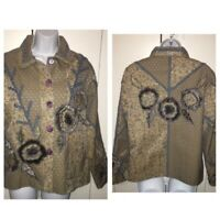 Parsley & Sage Art-to-Wear Blue Floral Lined Button Tapestry Jacket Sz S EUC