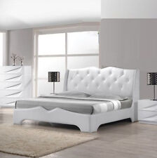 1pc Off White Lacquer Tufted Platform California King Size Bedroom Furniture Bed