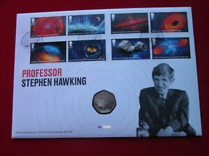 2019 Stephen Hawking 50p Stamp And Coin Cover BUNC Royal Mint