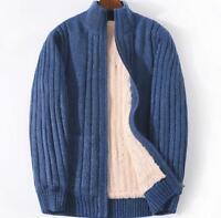 Mens Fleece Fur Lining Cardigan Coat Stand Collar WARM Sweater Jacket Outwear