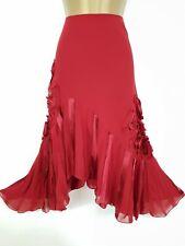 PER UNA M&S chiffon red asymmetric skirt Uk 12r