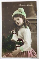 1910s Edwardian Girl Christmas Presents Pink Dress Photo Postcard RPPC