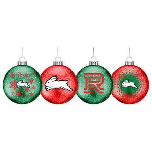 NRL SOUTH SYDNEY RABBITOHS SET OF 4 CHRISTMAS TREE BAUBLES