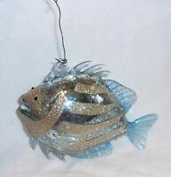 "5.5"" long blown glass tropical fish Christmas ornament pale blue & gold glitter"