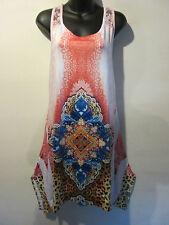 Top Fits L XL 1X Long Tunic Mini Dress Lace Racer Back Coral Blue Paisley 352