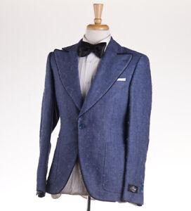 NWT $2695 BELVEST Slate Blue Woven Dinner Jacket Slim-Fit 40 R Tuxedo Blazer