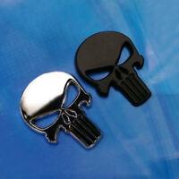 2 pcs 3D Punisher Metal Emblem Car Gas Door Skeleton Stickers Matte Black Chrome